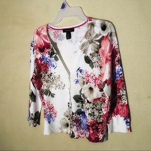 WHBM Floral Snap Front Cardigan, Sz S